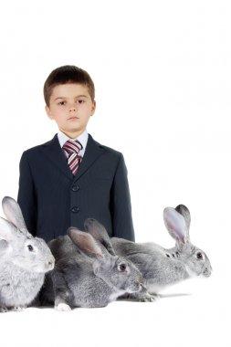 Boy and rabbits