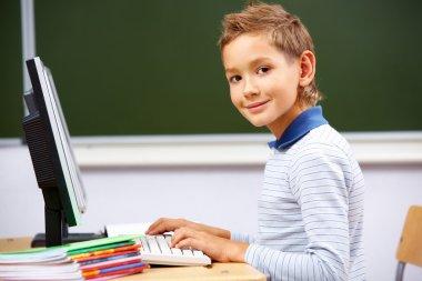 Boy typing