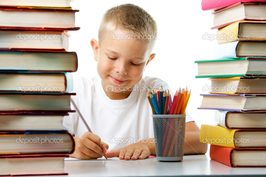 Portrait of cute youngster sitting among stacks of literature and drawing stock vector