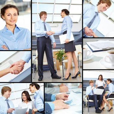 Collage of business partners working in team and making agreements stock vector