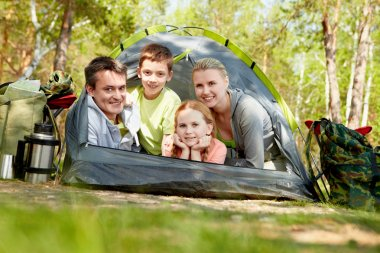 Tourists in tent