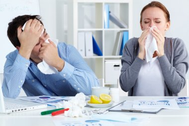 Image of sick business partners blowing their noses in office stock vector