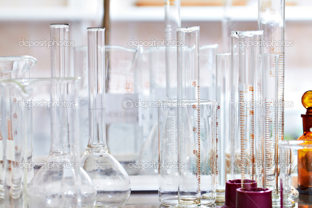Image of empty glass flasks in laboratory