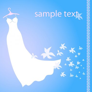 Vector illustration of white wedding dress on a blue background with flowers