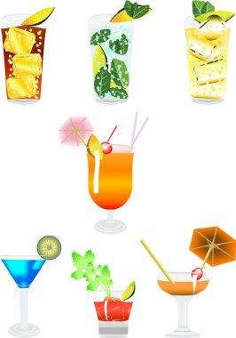 Several beverages in line