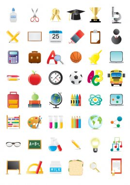 Vector illustration of school objects, big collection stock vector