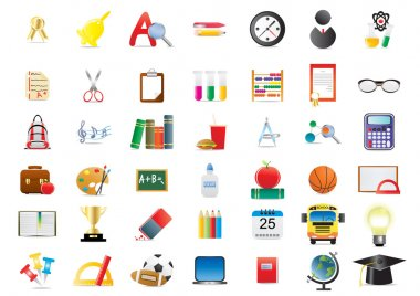 Set of several school icons