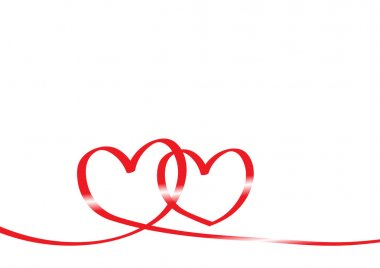 Red tape in form of two hearts