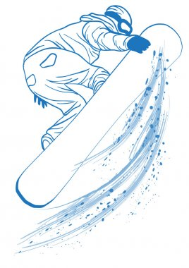 Blue outline of athlete touching her snowboard