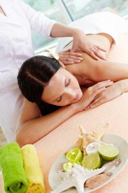 On massage table