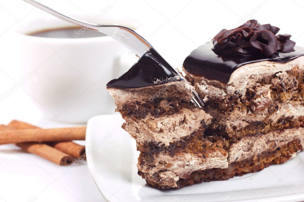 Dessert with chocolate-cake and coffee