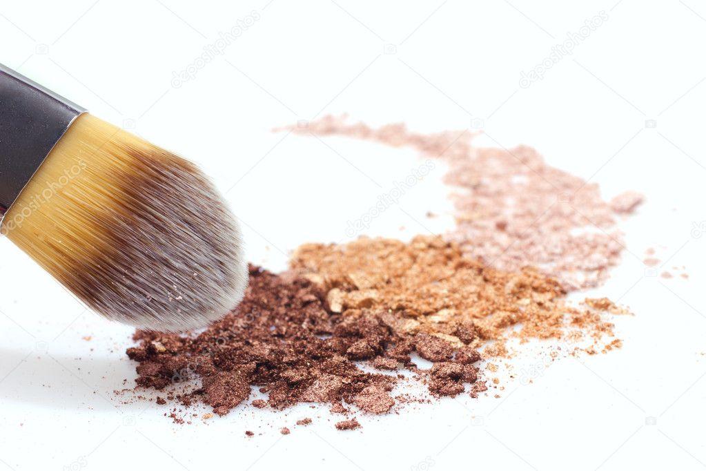 Makeup brush and eyeshadows