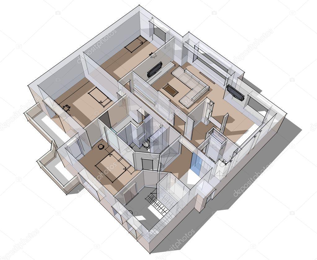 3d lägenhet skiss på en vit bakgrund i rader foto av seregalsv