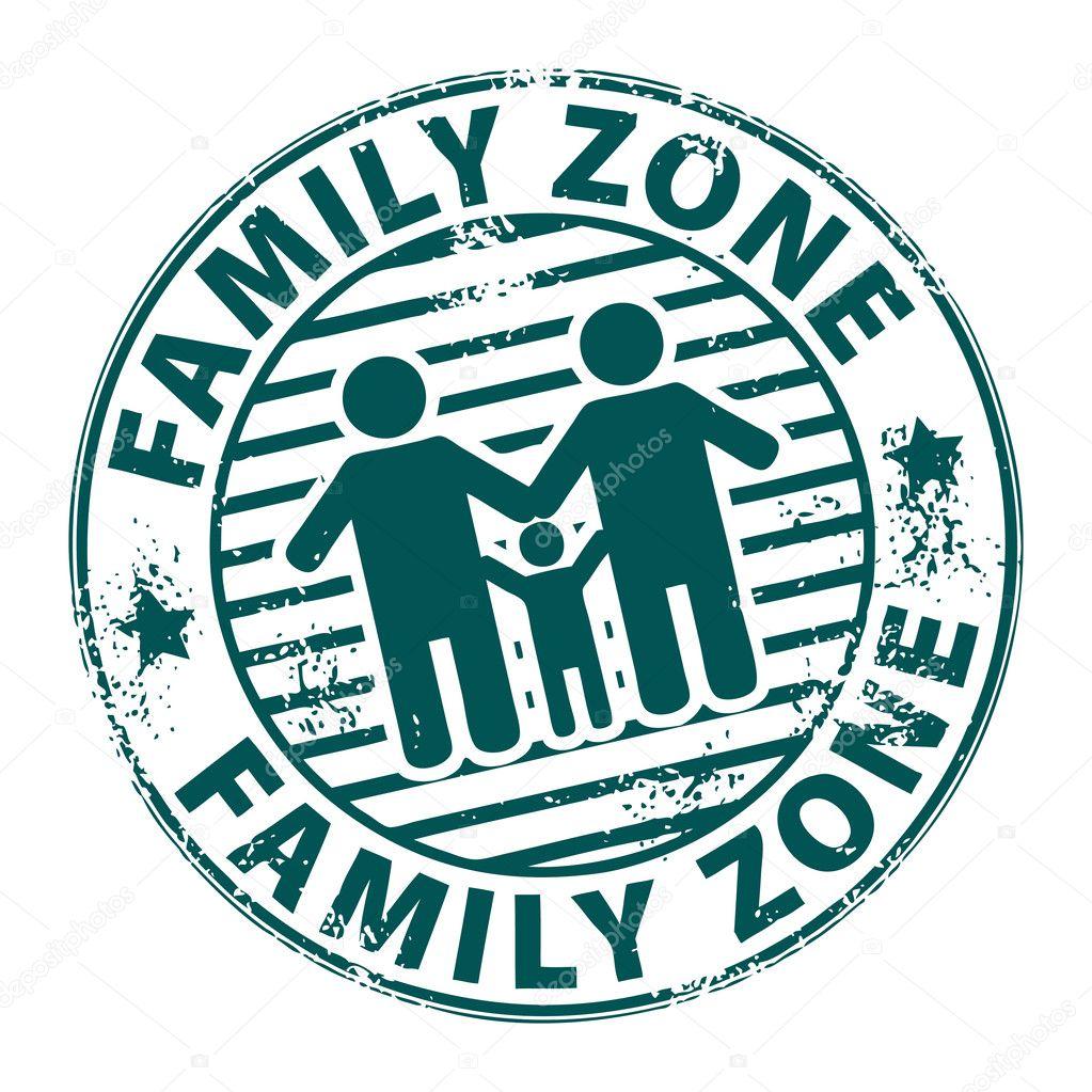 Nudist Zone Stamp Family Zone — Stock Vector #11303219