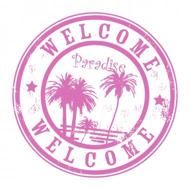 Grunge rubber stamp with palms and the word Welcome, Paradise inside clip art vector