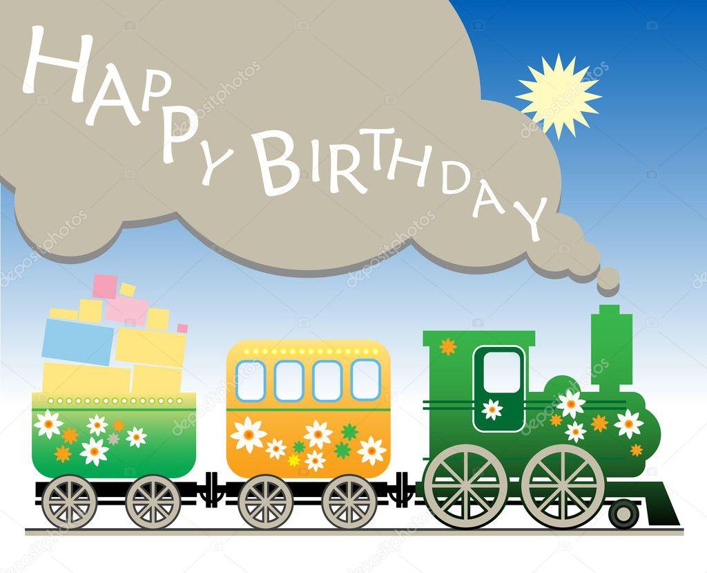 С днем рождения открытка паровозик