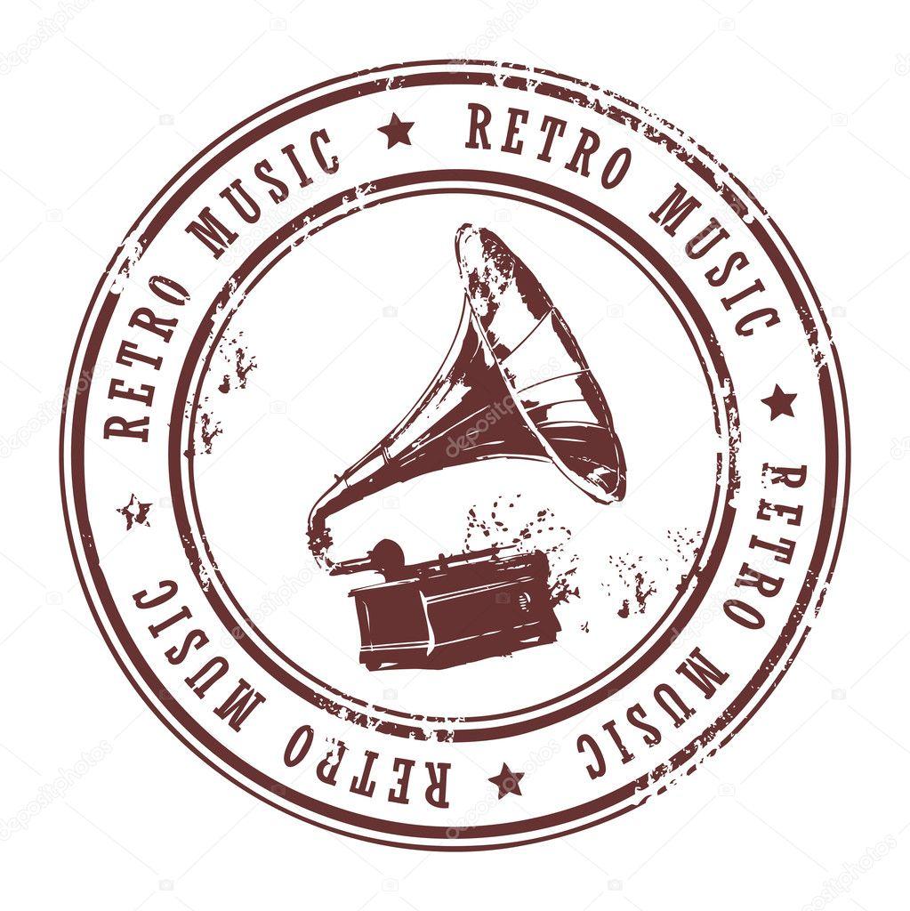 Retro Music Stamp Stock Vector C Fla 11780717