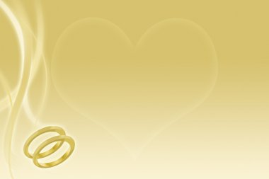 Gold wedding background with wedding bands and heart