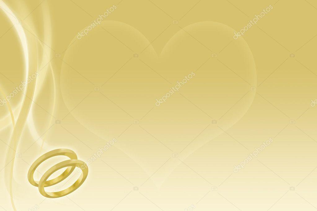 Sfondo Di Nozze D Oro Con Fedi E Cuore Foto Stock