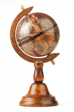 The vintage globe, separately on a white background