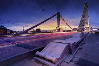 Krymsky bridge through Moscow-river
