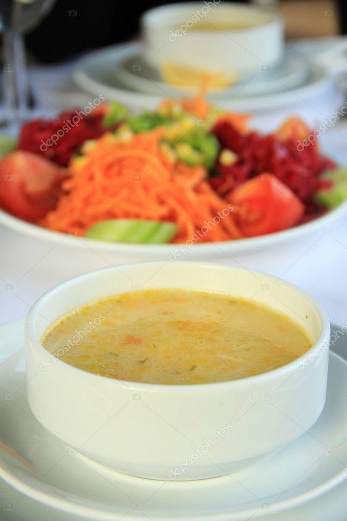 Noodle soup and fresh salad