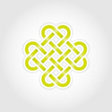 Green eternal knot concept in editable vector format