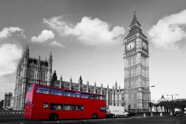 Big Ben with red double-decker in London, UK