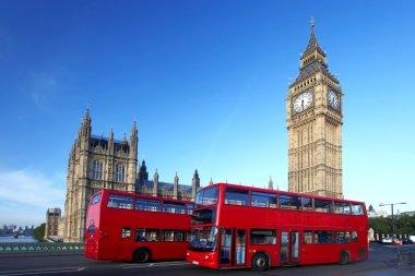 Big Ben with double decker, London, UK