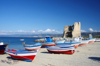Beautiful colorful boats in harbor, Briatico, Calabria, Italy