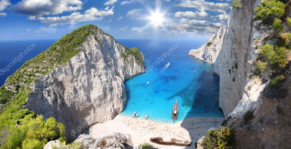 Amazing beach Navagio in Zakynthos, Greece