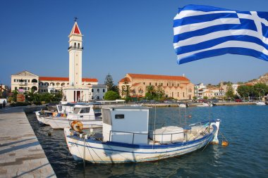 Zakynthos town with main church and with harbor in Greece