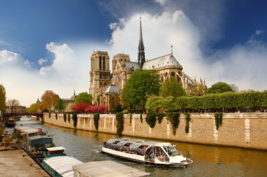 Paris, Notre Dame cathedral in spring time, France