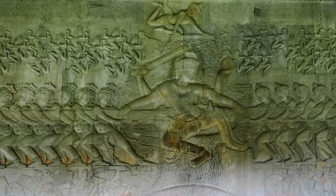 Bas relief 'Churning of the ocean of milk'. Angkor Wat. Cambodia.