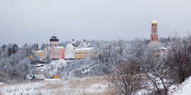 Orthodox monastery Davidova Pustin in winter. Chekhov. Moscow region. Russia.