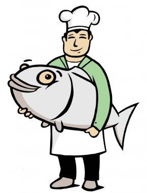 Chef with big fish
