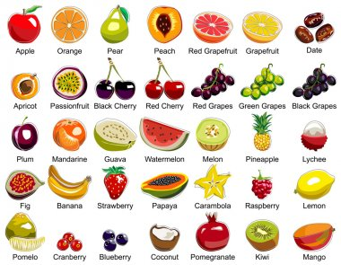 This ollection includes 35 icons of colorful fruits clip art vector