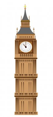 Big Ben tower illustration, isolated on white background, vector stock vector