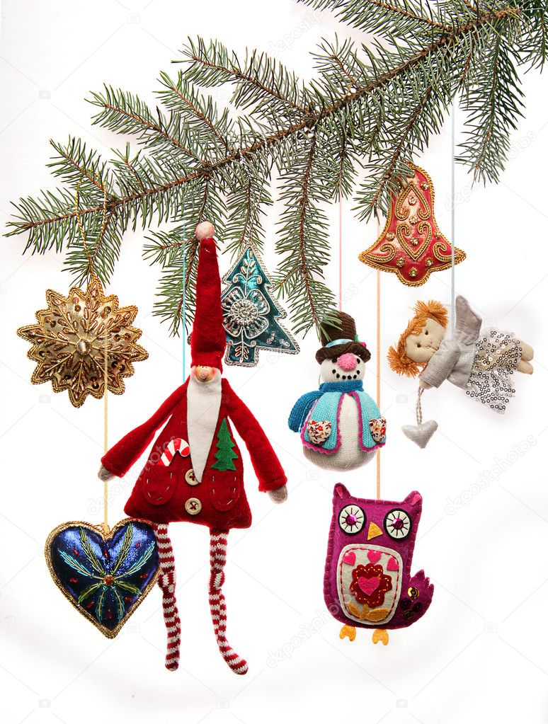 Retro Christmas Toy : Vintage christmas toys on fir tree branch — stock photo