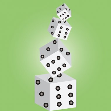 Dices on green background