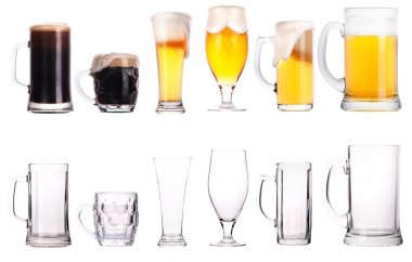 Beer glasses. Part of a collection of glasses and drinks