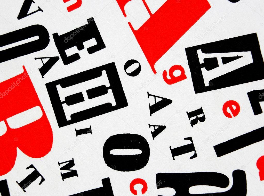 Red Black White Letters Mixture Stock Photo Blash 10971136