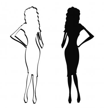 Silhouettes of pretty woman