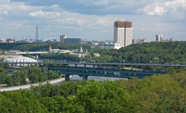 Panorama of Moscow from Sparrow hills,Russia