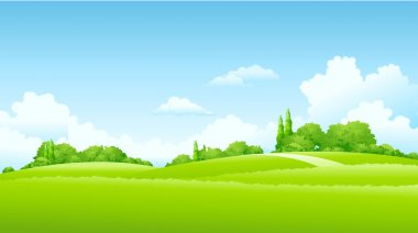 Green Landscape in sunnyday stock vector