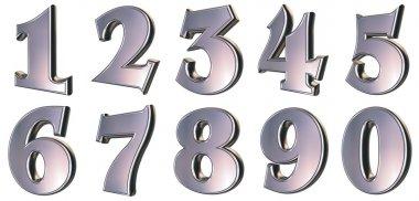 3d rendered metallic numbers stock vector