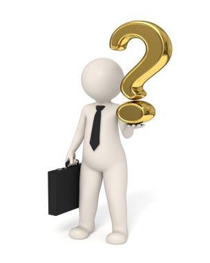 3d business man holding a gold question mark