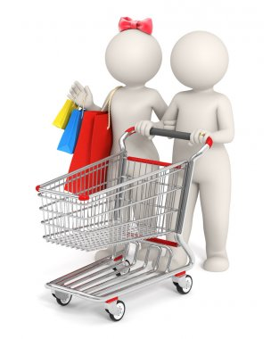 3d couple with shopping cart