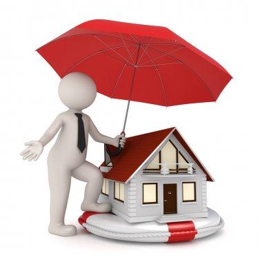 House insurance - 3d business man