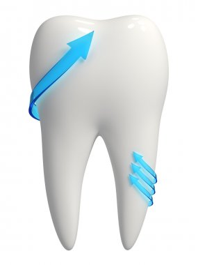 Healthy 3d white tooth icon - Blue arrows